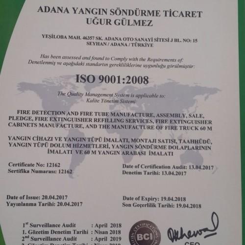 ISO 9001:2008 CE Sertifikamız